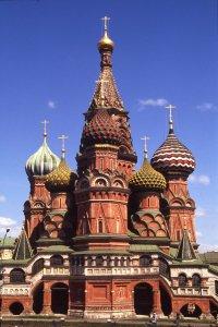 Moscou. L'église Saint Basile sur la Place Rouge. 13 juillet 1994.