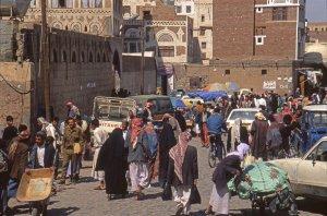 Une rue de Sana'a en octobre 2000