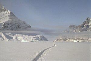 Groenland. Trace profonde dans le detroit d'Inukavsait. 6 mai 1991.