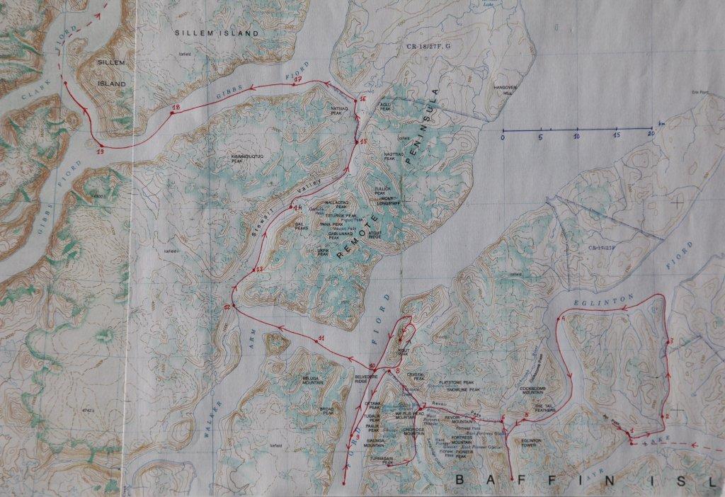 Carte du raid de 2003 en Terre de Baffin.