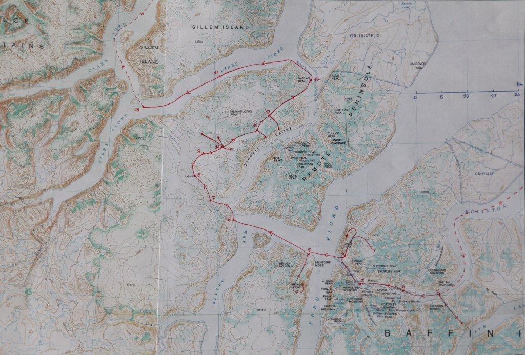 Carte du raid à skis Baffin 2006.
