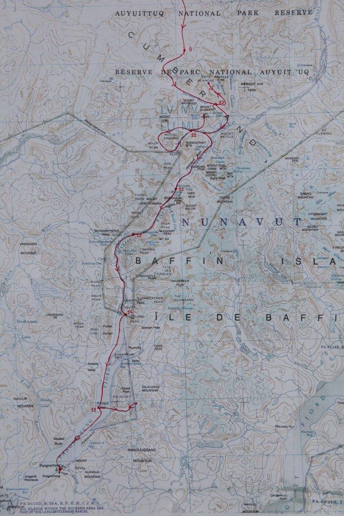 Carte de la partie sud du raid de 1982.