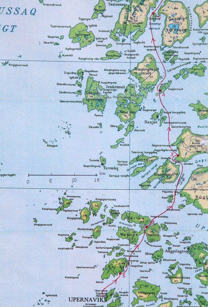 Carte 1 - Le départ de Upernavik au camp 5.