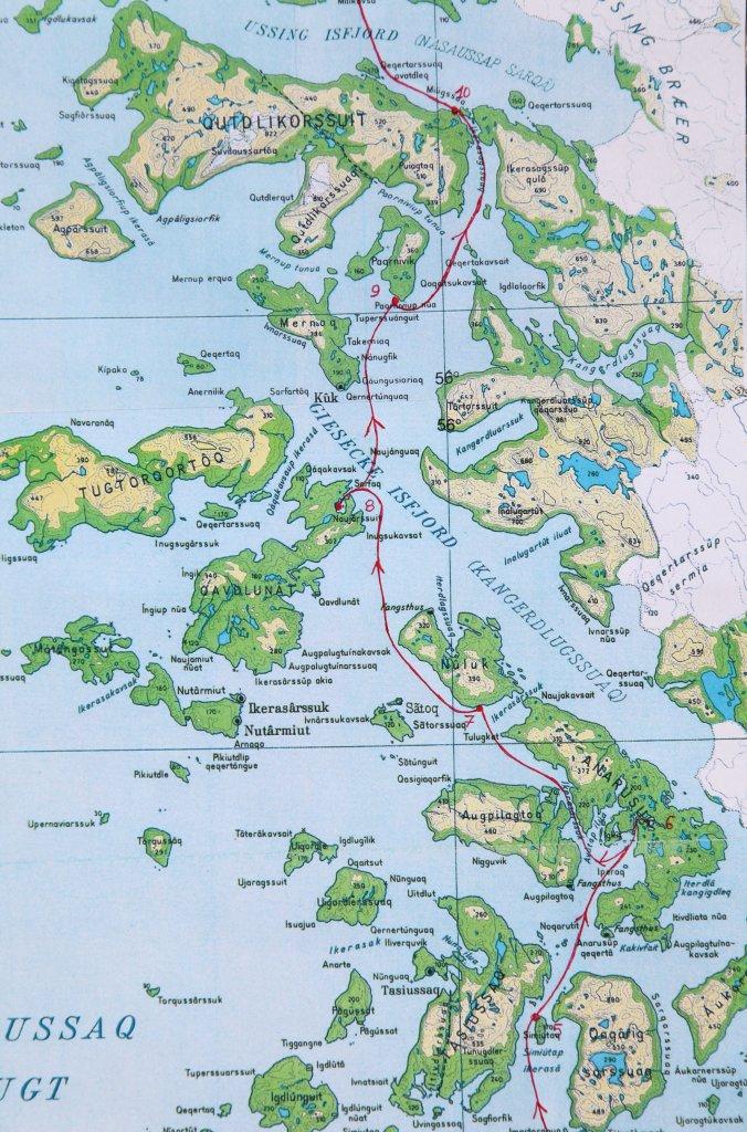 Carte 2 - Le Giesecke Isfjord du camp 5 au camp 10.