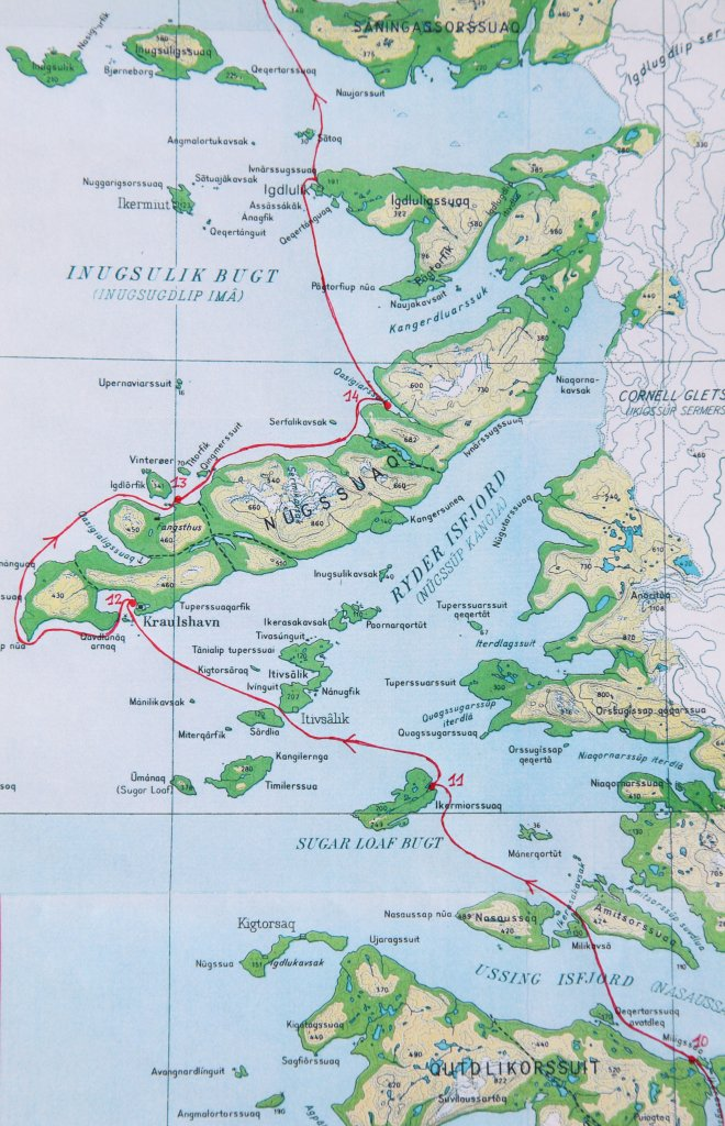 Carte 3 - Ussing Isfjord et Nuussuaq du camp 10 au camp 14.