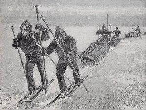 Nansen et ses compagnons lors de la première traversée du Groenland en 1888. Gravure d'après photo.