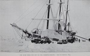 Le Fram pris dans les glaces, Mars 1895.