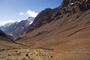 Montée de la caravane au col d'Aghil