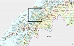 Carte de situation de l'île de Senja dans le nord de la Norvège