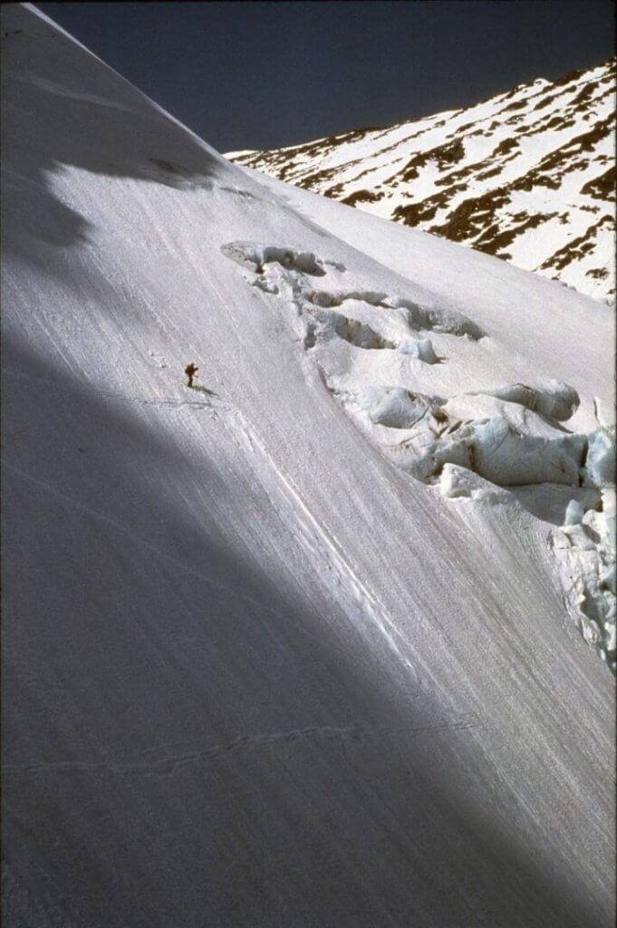 Marc dans la descente du Rypedalsbreen le 16 avril 1989.