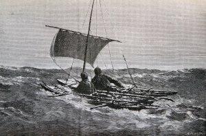 En route sur la mer libre .(Gravure de l'époque).