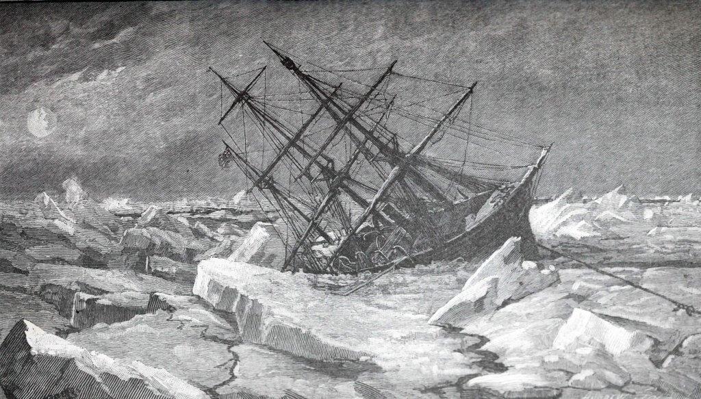 La Jeannette coule (Gravure de l'époque)