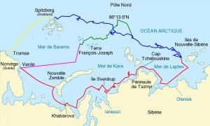 Carte de la dérive du Fram adaptée de © Sémhur / Wikimedia commons FAL.