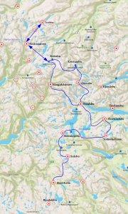 Itinéraire du raid d'avril-mai 2017 dans le Jotunheimen et le Skarvheimen. Les flèches indiquent des aller-retour