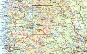 Carte de situation du raid de'avril-mai 2017 dans le Jotunheimen et le Skarvheimen