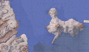 Carte de l'île Ross.A l'ouest, la Terre Victoria est séparée de l'île Ross par la Baie de McMurdo. Au sud, la Barrière de Ross termine sa course sur le flanc sud de l'Erebus. Les 3 camps des expéditions Scott et Shackleton sont sur la côte sud-ouest de l'île Ross.