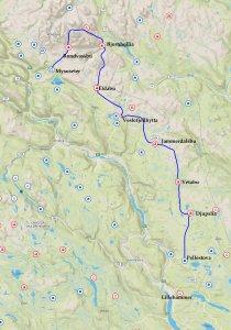Itinéraire du raid dans le Rondane de Février 2020.