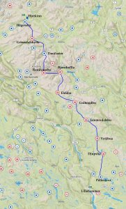 Itinéraire du raid dans le Rondane de Mars-Avril 2019.