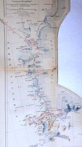 """Carte extraite de l'édition originale de 1910 du livre de Shackleton """"Au coeur de l'Antarctique""""."""